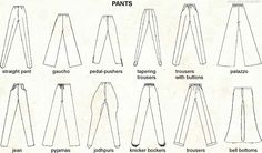 A visual dictionary of pants More Visual Glossaries (for Her): Backpacks / Bags / Beads / Bobby Pins / Boots / Bra Types / Belt knots / Chain Types / Coats / Collars / Darts / Dress Shapes / Dress...