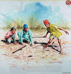 Indian boys playing gilli danda in rural Punjab My favorite game🤠🤠 Punjab Culture, Art Sketches, Art Drawings, Village Photography, Miniature Photography, Art Village, Village Photos, Childhood Games, Childhood Memories