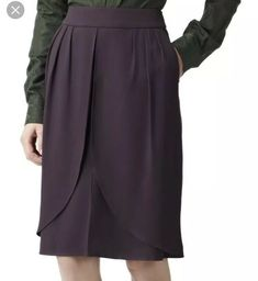 NEW WOMAN/'S LADIES WOOL RICH SMART BLACK SKIRT ASYMMETRIC HEM FULLY LINED UK 14