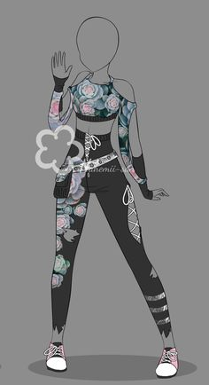 Sempervivum Outfit - Adopt closed by Nahemii-san on DeviantArt Manga Clothes, Drawing Anime Clothes, Clothing Sketches, Dress Sketches, Fashion Design Drawings, Fashion Sketches, Character Outfits, Character Art, Kleidung Design
