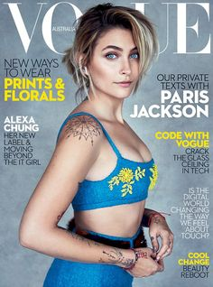 Cover girl! Paris Jackson flaunted her toned midriff in a blue crop top for the cover Vogue Australia magazine this month Cordoba, Magazine Covers, Fashion Magazines, Hairdos, Trends
