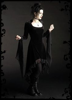 Circee Dress in Velvet with Dramatic Cuffs - Custom Elegant Gothic Clothing - Dark Romantic Couture