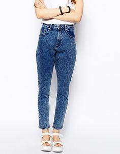 ASOS Farleigh High Waist Slim Mom Jeans in Mid Acid Wash 201, 26/32