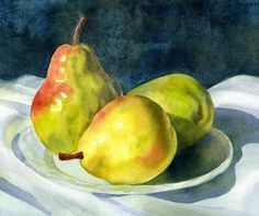 Green Art Print featuring the painting Three Green Pears by Sharon Freeman Watercolor Fruit, Fruit Painting, Watercolor Landscape, Watercolor Flowers, Watercolor Painting, Watercolors, The Artist Magazine, Still Life Fruit, Fruit Photography