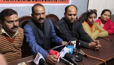 Tilak Raj and others from National Democratic Party interacting with media persons at Jammu.  Excelsior/Rakesh