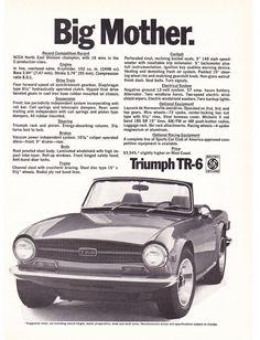 """1970 Triumph TR-6 Car Ad """"Big Mother"""""""
