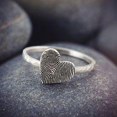 Dainty Fingerprint Ring - Actual Fingerprint Heart Rings - Fingerprint Jewelry - Custom Fingerprint - Memorial Rings NVT07