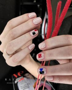 Nude red blue black nails