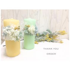 candle キャンドル green yellow DIY
