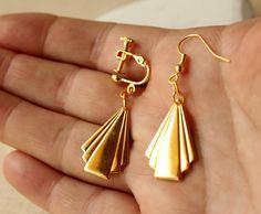 Gold Art deco earrings Gold Earrings Geometric by acanthusjd