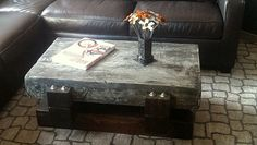 coffee table,beam base with concrete slab top made by Industrial Evolution Furniture co.