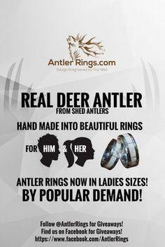 Best prices on custom Deer Antler Rings for Men & Women! Every ring is 100% Unique! 5 star reviews!