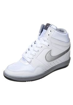 Nike Sportswear FORCE SKY HIGH - Sneaker high - white/metallic silver/dark grey - Zalando.de