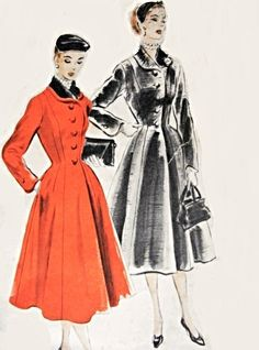 1950s Lovely Princess Coat Pattern Fit and Flare Style Nip In Waist Vogue 7594 Vintage Sewing Pattern Bust 32