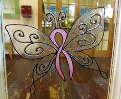 Pink Ribbon Butterfly Window Cling