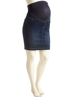 "Maternity Smooth-Panel Denim Skirts (16"") Product Image"