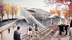 Honorable mention for Sunggi Park's entry in the Daegu Gosan Public Library competition (Image: Sunggi Park) Library Architecture, Architecture Collage, Stairs Architecture, Architecture Visualization, Concept Architecture, Landscape Architecture, Landscape Design, Architecture Design, Innovative Architecture