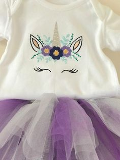 Babys First Tutu Set 12-18 Months Embroidered Unicorn Tutu Set Ready To Post Gift Purple Silver Birthday Party Outfit Cake Smash Photoshoot. Who doesnt love a Unicorn outfit? 🦄 This is a gorgeous handcrafted custom set comprising of an exclusive embroidered Unicorn vest and matching