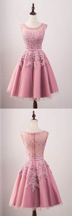 Sale Easy Homecoming Dresses A-Line, A-Line Crew Knee-Length Tulle Homecoming Dress With Appliques Beading Hoco Dresses, Trendy Dresses, Homecoming Dresses, Cute Dresses, Beautiful Dresses, Vintage Dresses, Dress Outfits, Evening Dresses, Fashion Dresses