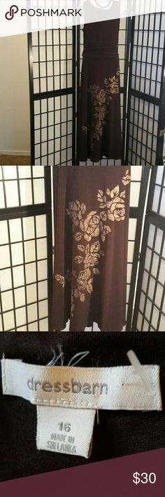 ⬇Reduced⬇NWOT Dressbarn Brown Long Floral Dress Gorgeous, Never Worn, Back Zipper, Stretch, Sleeveless, A-line, Flare, Floral Tan Front Print,  Accessories not included,  Thanks for sharing my closet, I will show Posh love by doing the same. Dress Barn Dresses