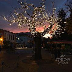 Pink Sky Night #pinksky #arcotrentino #festivelights #sunset