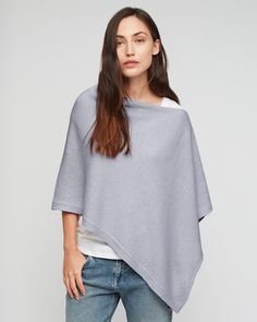 Italian-made soft-knit poncho carefully crafted in a wool blend with a touch of cashmere for a truly luxe feel. Easy relaxed fit and rib detail at the hem. We love how versatile this piece is. Use this poncho as an extra-cosy layer in the winter or a ligh
