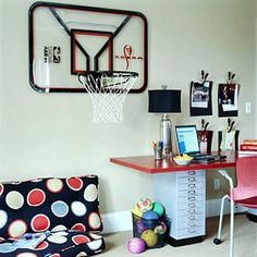 Cute Rooms for Boys (via Parents.com)  I like the b-ball hoop, the walk book shelves, and the under bed storage.  Also, might paint the bunk bed :)  Color ideas:  red and blue or just green