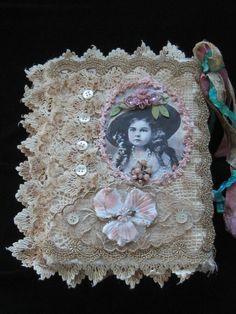 Shabby Chic Fabric Journal / Book Altered Art door KISoriginals