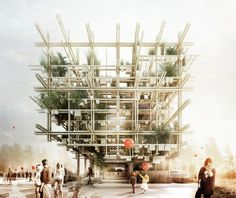Austrian Pavilion for Expo 2015 by Chris Precht (penda) and Alex Daxböck. Image courtesy of Chris Precht and Alex Daxböck Pavilion Architecture, Architecture Visualization, Architecture Drawings, Futuristic Architecture, Landscape Architecture, Architecture Design, Classical Architecture, Architecture Illustrations, Cultural Architecture