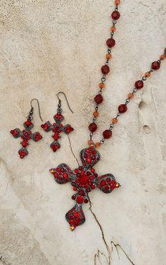 Blazin Roxx® Women's Red Crystal Cross Necklace & Earrings Set 3030804