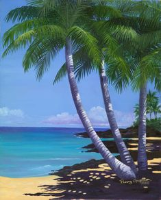 3 Palms - Limited Edition :: Tropical paintings in watercolor, oil and acrylic by Penny Gupton