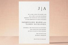 """Sophistotype"" - Simple, Monogrammed Letterpress Wedding Invitations in Black by Snow and Ivy."