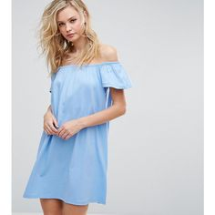 ASOS TALL Off Shoulder Mini Dress (30 AUD) ❤ liked on Polyvore featuring dresses, blue, off the shoulder mini dress, short sleeve dress, off shoulder mini dress, blue off the shoulder dress and short blue dress