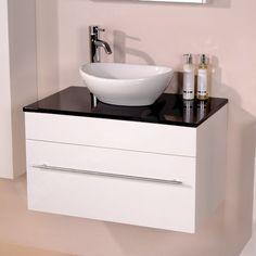 Aviva 752mm Black Sparkle Shell Countertop Basin Wall Hung Vanity Unit Set