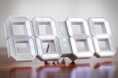 This is a modern interpretation of the traditional digital clock. Digital wall/desk white LED clock with white frame digits. Nothing else, simply. Digital Clocks, Digital Wall, Digital Light, Really Cool Gadgets, Fun Gadgets, Tech Gadgets, Led, White Wall Clocks, Bright Walls