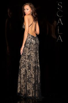 #SCALA Spring 2016 style 48557 Black/Nude! #scalausa #spring2016 #prom2016 #gown #promdress #eveningwear #dress #sequins #specialoccasion #prom2k16 www.scalausa.com