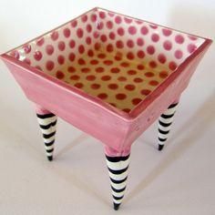 Pink polka-dot square ceramic Dish on striped whimsical legs. $60.00, via Etsy.