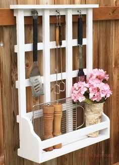 grill shelf hang on fence or house siding outdoor