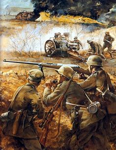 German troops with an anti-tank rifle, WWI. Military Art, Military History, Ww1 Battles, Ww1 Art, Ww1 History, Ww1 Soldiers, Military Drawings, Germany Ww2, World War One