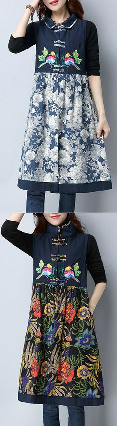 Vintage Patchwork Embroidery Women Thick Dresses