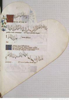 Titre :  Chansonnier cordiforme de Montchenu. RECUEIL de Chansons italiennes et françaises.  Date d'édition :  1470-1480  Rothschild 2973  Folio 51r