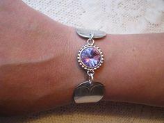 "Spoon Bracelet - Spoon Jewelry - Antique Spoons - Vintage - ""Fiddle"" -  Anchor Rogers, 1879 - Crystal Rivoli on Etsy, $32.00"