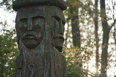Statue of the Slavic god Świętowit (Svetovid) near the town of Choroszcz, Poland. Image by Javor on Bikestats.