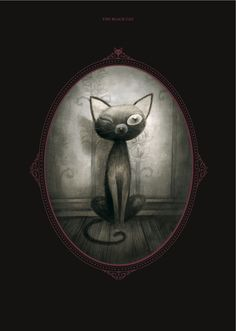 An illustration by Benjamin Lacombe of Pluto from Edgar Allan Poe's 'The Black Cat', in 'Tales of the Macabre'. http://www.amazon.com/Tales-Macabre-Edgar-Poe/dp/1936393409