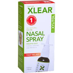 XLEAR Nasal Spray, Fl Oz, All-Natural Saline and Xylitol Moisturizing Sinus Care - Immediate and Drug Free Relief From Congestion, Allergies, and Dry Sinuses Essential Oils For Asthma, Saline Nasal Spray, Sinus Spray, Cold Or Allergies, Natural Asthma Remedies, Cold Remedies, Sinus Relief, Grapefruit Seed Extract, Medicinal Plants