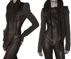 Haider Ackermann Wool Sleeves Leather Jacket