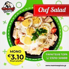 Με τη μοναδική της γεύση και τα φρέσκα υλικά της, ένα είναι σίγουρο...η Σαλάτα του Chef θα γίνει η αγαπημένη σου‼️🔝 www.mammaspizza.gr #serres #salad #mammaspizza Chef Salad, Pizza, Chicken, Meat, Food, Essen, Meals, Yemek, Eten