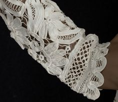 ❥ Battenburg lace and linen coat, c.1900