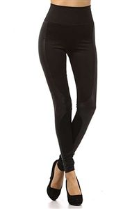 Gotham Faux Leather High Waist Leggings -this site has quite a few styles of leather accented riding pants perfect for spacey cosplay-