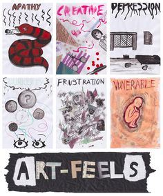 Art Therapy Directive Task - Dealing with Emotions: Think of different emotions that you commonly experience, both positive and negative, and write each one at the top of a peice of A4 paper and create images for each one.